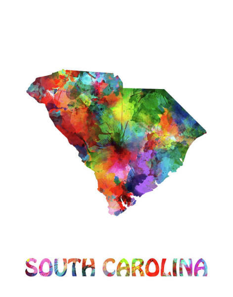 Southwest Digital Art - South Carolina Map Watercolor by Bekim Art