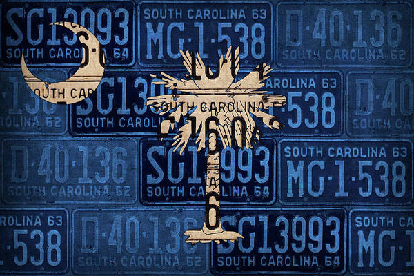 Wall Art - Mixed Media - South Carolina State Flag Vintage License Plate Art by Design Turnpike