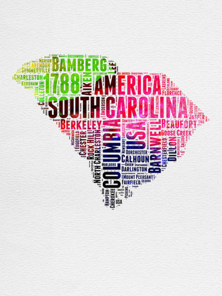 Map Art Mixed Media - South Carolina Watercolor Word Cloud by Naxart Studio