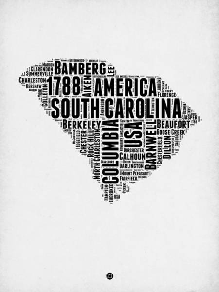 Map Art Mixed Media - South Carolina Word Cloud 1 by Naxart Studio