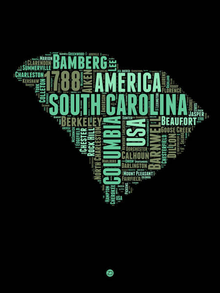 Map Art Mixed Media - South Carolina Word Cloud 2 by Naxart Studio