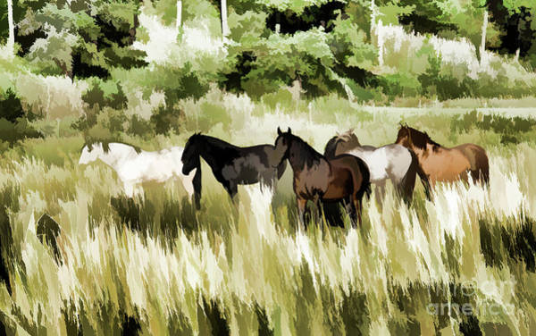 Farm Landscape Mixed Media - South Dakota Herd Of Horses by Wilma Birdwell
