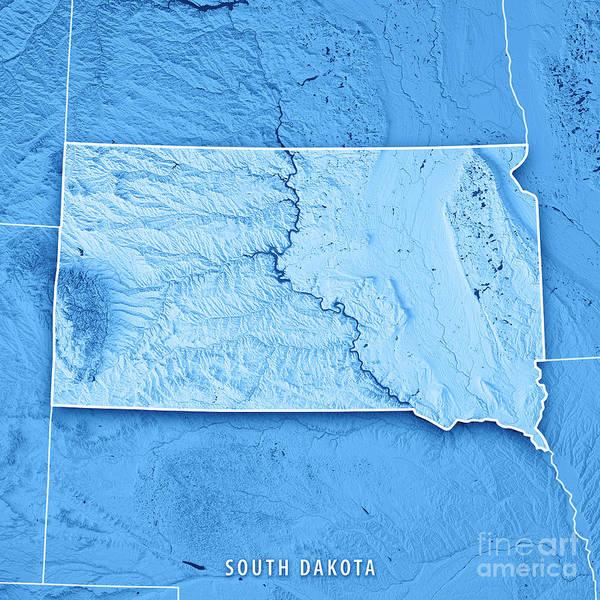 Prairie View Digital Art - South Dakota State Usa 3d Render Topographic Map Blue Border by Frank Ramspott