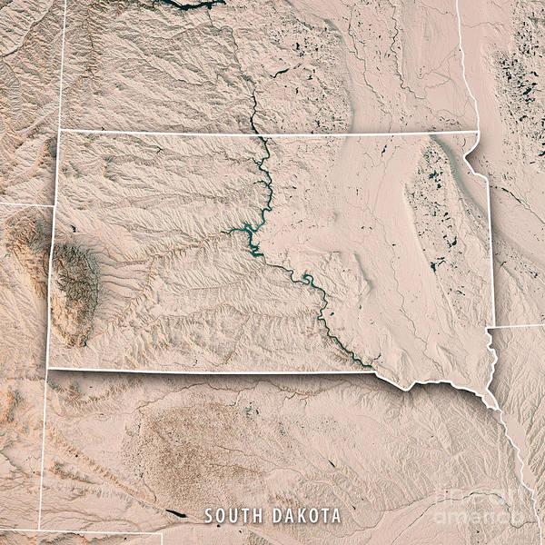 Prairie View Digital Art - South Dakota State Usa 3d Render Topographic Map Neutral Border by Frank Ramspott