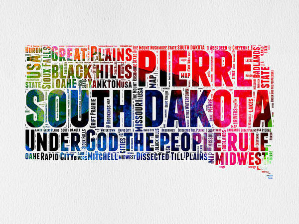 Map Art Mixed Media - South Dakota Watercolor Word Cloud by Naxart Studio