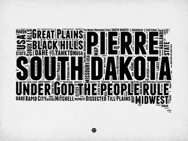 Map Art Mixed Media - South Dakota Word Cloud 1 by Naxart Studio