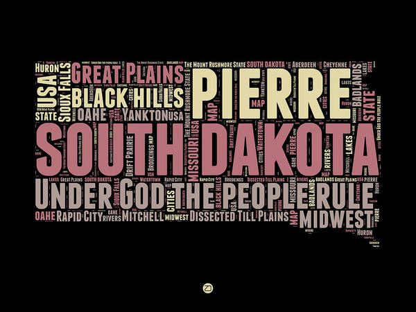 Map Art Mixed Media - South Dakota Word Cloud 2 by Naxart Studio