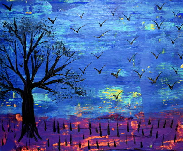 Blacklight Painting - South For The Winter by Mark Jones