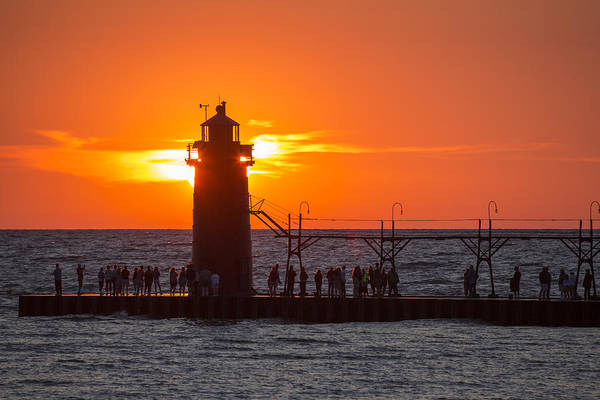 Port Orange Photograph - South Haven Michigan Sunset by Adam Romanowicz