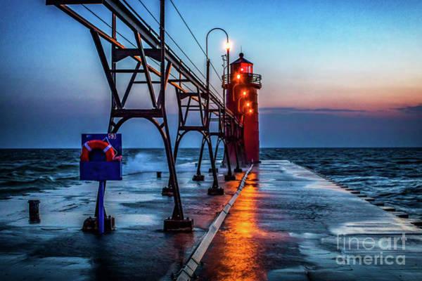 Photograph - South Haven Pier Light by Nick Zelinsky