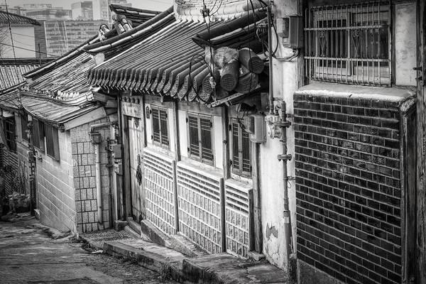 Photograph - South Korean Hanok Street Bw by Joan Carroll