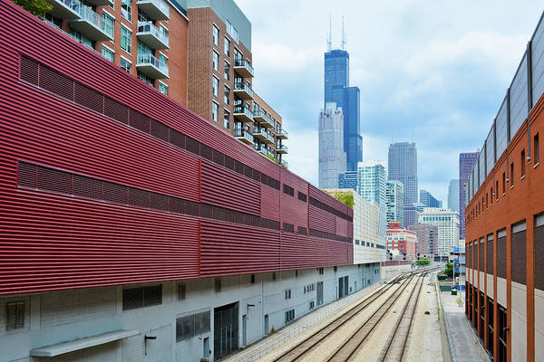 Photograph - South Loop Chicago Train Tracks  by Kyle Hanson