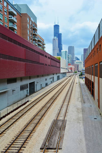 Photograph - South Loop Chicago Train Tracks Portrait by Kyle Hanson