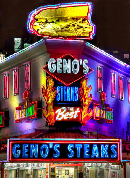 Wall Art - Photograph - South Philly Skyline - Geno's Steaks-1 - Ninth And Passyunk In South Philadelphia by Michael Mazaika