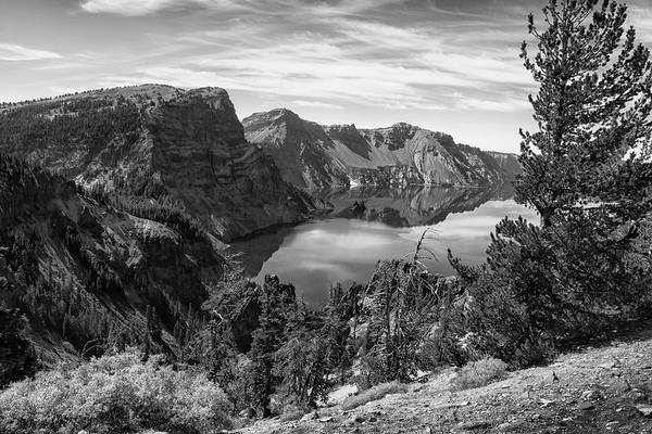 Photograph - South Rim Of Crater Lake B W by Frank Wilson