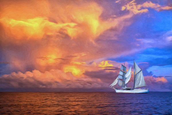 Fatu Hiva Wall Art - Painting - South Seas Sailing by Dominic Piperata