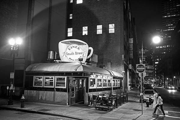 Photograph - South Street Diner Shahow Of The Cup Boston Ma Black And White by Toby McGuire