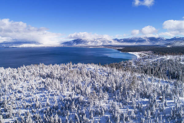 Photograph - South Tahoe Winter Aerial By Brad Scott by Brad Scott