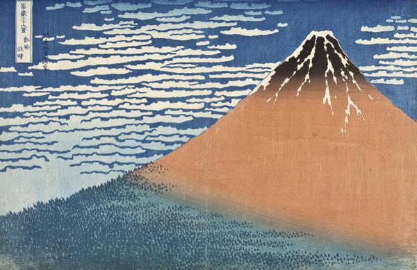 Woodblock Painting - South Wind Clear Dawn by Katsushika Hokusai