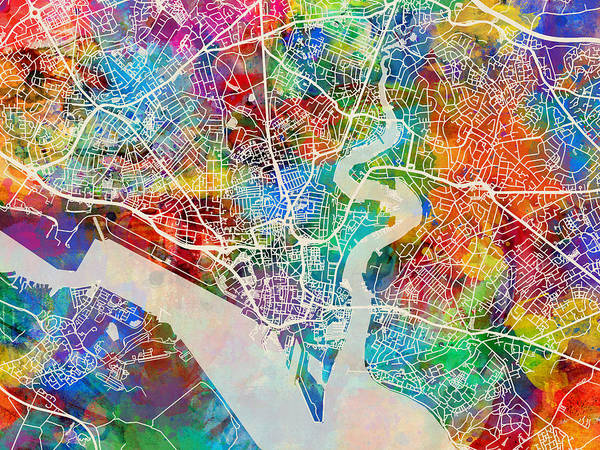 Wall Art - Digital Art - Southampton England City Map by Michael Tompsett