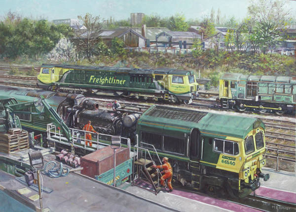 Freightliner Wall Art - Painting - Southampton Freightliner Train Maintenance by Martin Davey