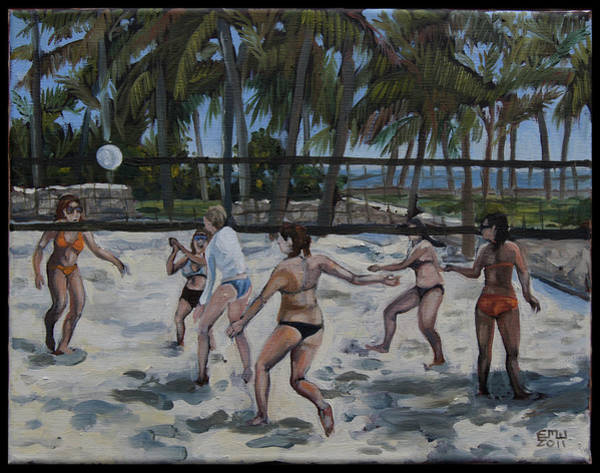 Volley Painting - Southbeachvolley by Edward Williams
