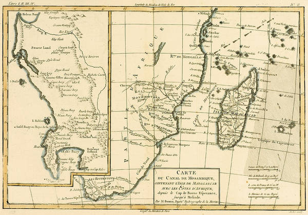 Mapping Drawing - Southern Africa by Guillaume Raynal