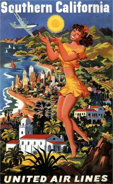 Office Decor Mixed Media - Southern California - United Air Lines - Retro Travel Poster - Vintage Poster by Studio Grafiikka