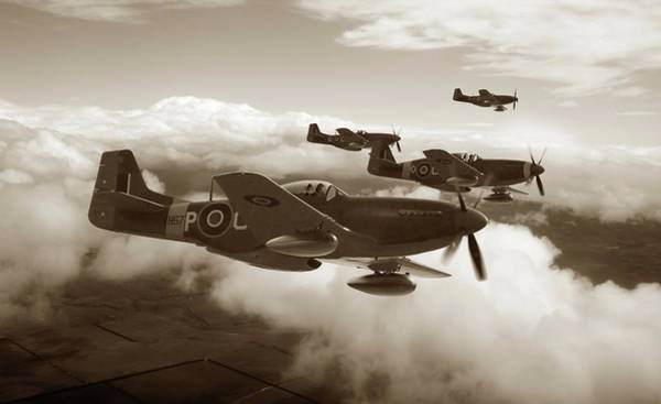 Royal Air Force Digital Art - Southern Cross Mustangs - Sepia by Mark Donoghue