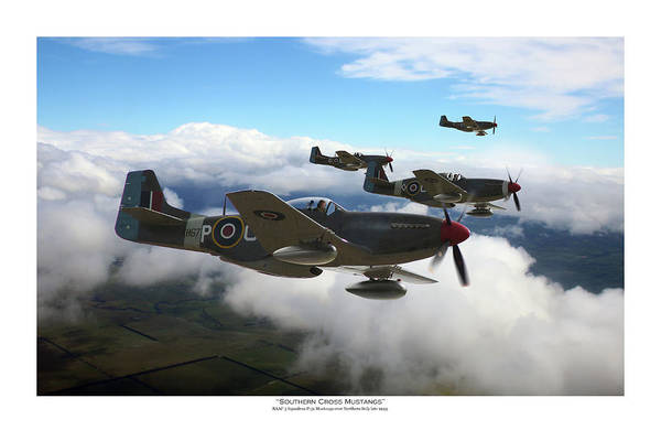 Royal Air Force Digital Art - Southern Cross Mustangs - Titled by Mark Donoghue