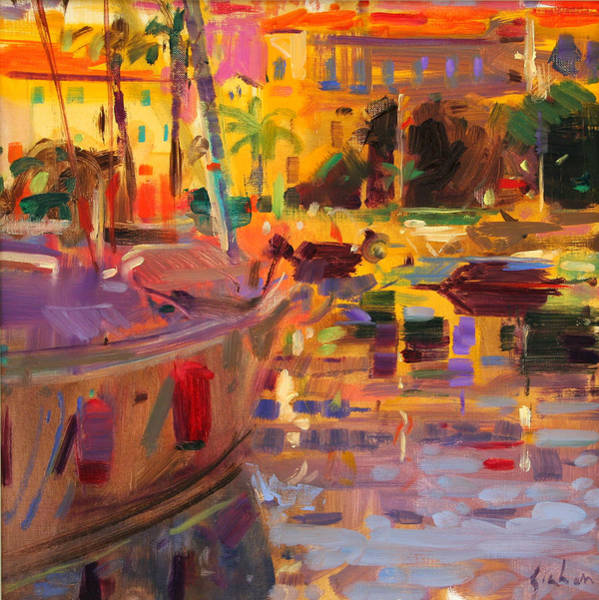 Dappled Light Painting - Southern French Port by Peter Graham