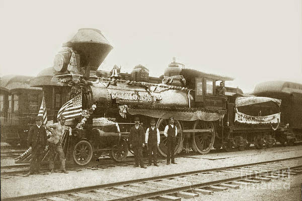 Photograph - Southern Pacific. R/r Locomotive /engine # 225 At Pacific Grove Circa 1888 by California Views Archives Mr Pat Hathaway Archives