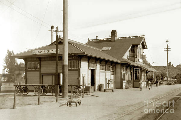 Photograph - Southern Pacific Santa Cruz Railroasd Depot 1912 by California Views Archives Mr Pat Hathaway Archives