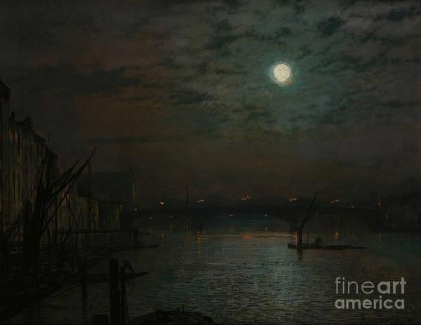 Full Moon Painting - Southwark Bridge By Moonlight by John Atkinson Grimshaw