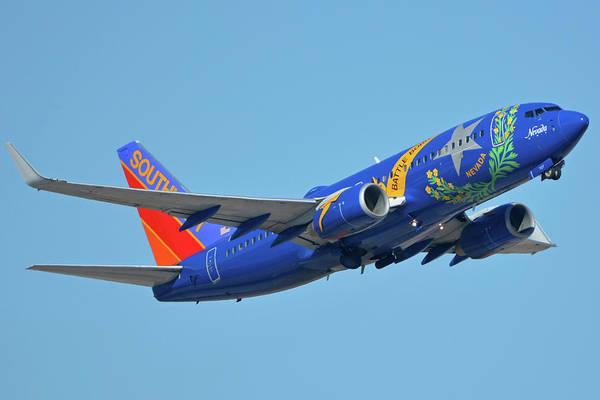 Wall Art - Photograph - Southwest Boeing 737-7h4 N727sw Nevada One Phoenix Sky Harbor October 14 2017 by Brian Lockett