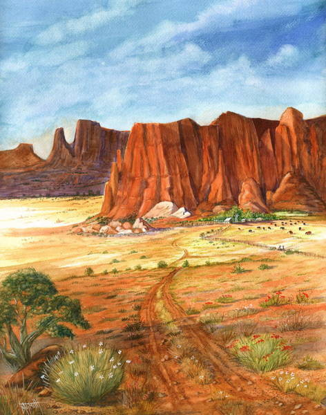 Red Wagon Wall Art - Painting - Southwest Red Rock Ranch by Marilyn Smith