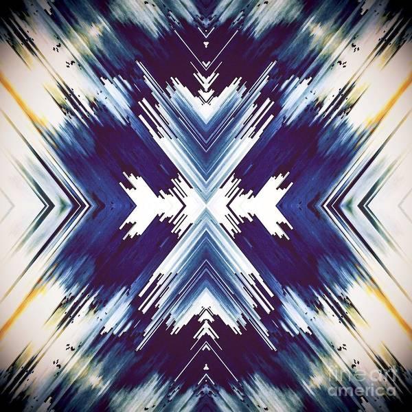 Digital Art - Southwestern Bright Blue Pattern Design by Sheila Wenzel