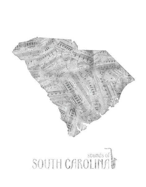 Southwest Digital Art - Soutih Carolina Map Music Notes by Bekim Art