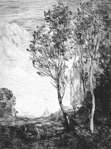 Relief - Souvenir Of Italy by Jean-Baptiste-Camille Corot