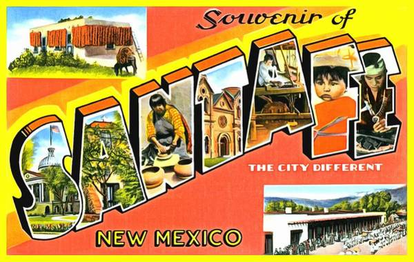 Photograph - Souvenir Of Santa Fe New Mexico by Vintage Collections Cites and States