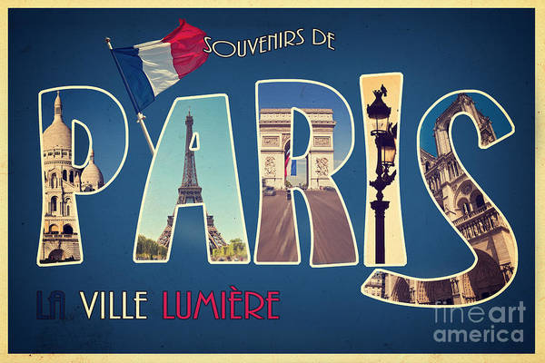 Travel Destinations Wall Art - Mixed Media - Souvernirs De Paris by Delphimages Photo Creations