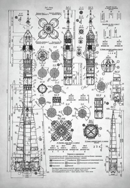 Schematic Wall Art - Digital Art - Soviet Rocket Schematics by Zapista Zapista