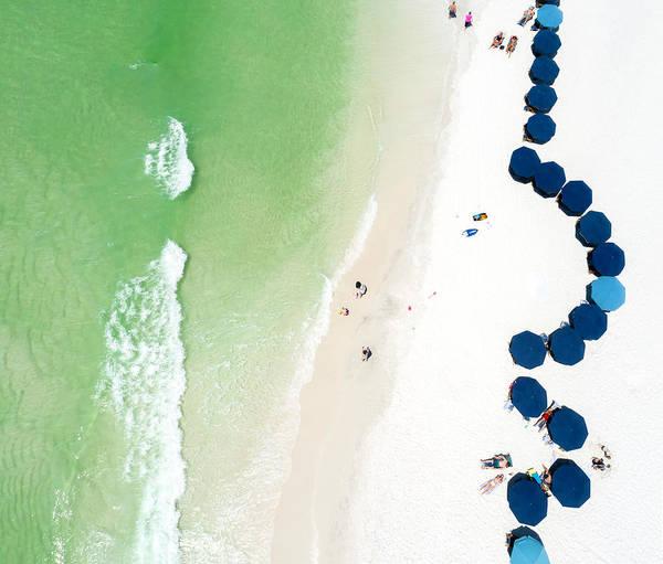 Sowal Beach Umbrellas Aerial Art Print