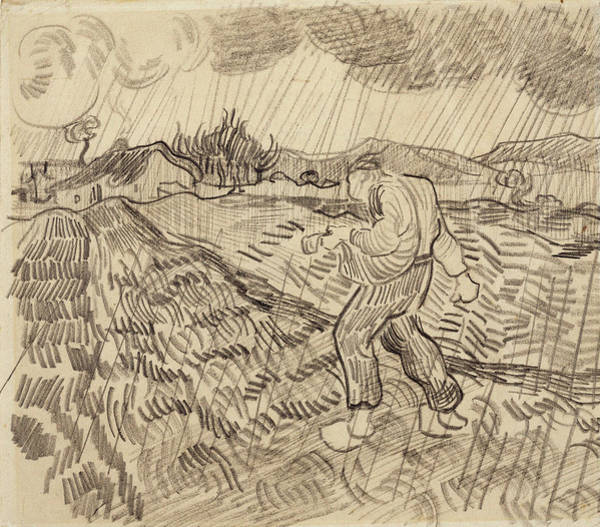 Leaded Glass Painting - Sower In The Rain, 1890 by Vincent Van Gogh