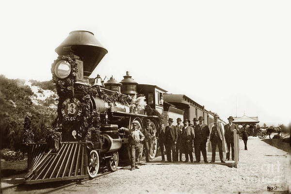 Photograph - Sp 73 4-4-0 Poss With Brotherhood Of Loco Engineers At Del Monte 1884 by California Views Archives Mr Pat Hathaway Archives