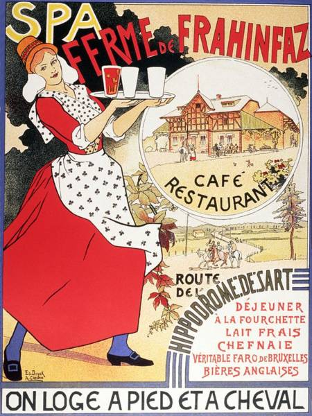 Belgium Mixed Media - Spa Ferme De Frahinfaz - Frahinfaz Farm Cafe And Restaurant - Vintage Hotel Advertising Poster by Studio Grafiikka