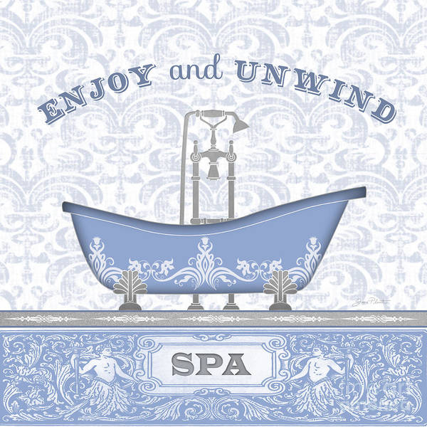 Bath Room Wall Art - Painting - Spa Time-blue-jp3846 by Jean Plout