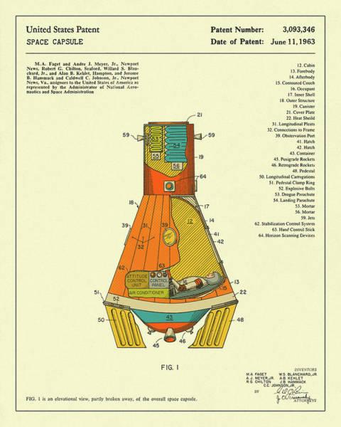 Spaceship Wall Art - Digital Art - Space Capsule 1963 by Jazzberry Blue