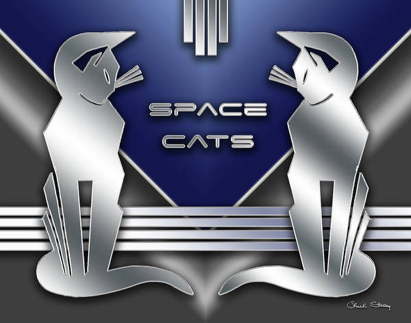 Digital Art - Space Cats by Chuck Staley