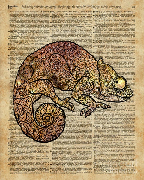 Wall Art - Mixed Media - Space Chameleon Zentagle Dictionary Art by Anna W